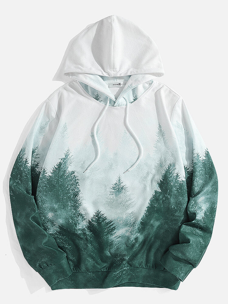 Mens All Over Forest Landscape Print Casual Drawstring Hoodies