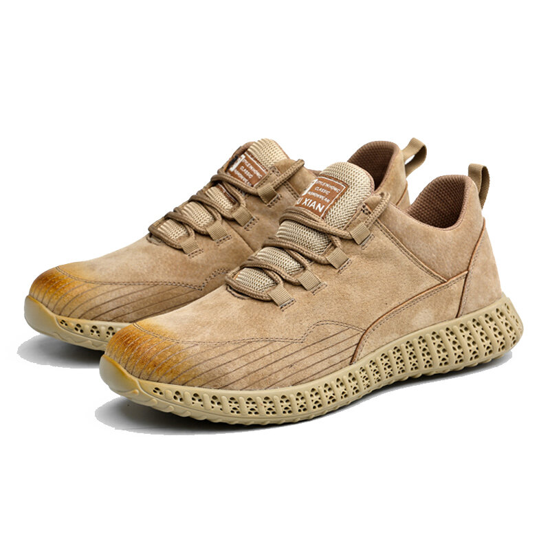 Men Suede Steel Toe Anti Smashing Soft Sole Casaul Safety Sneakers