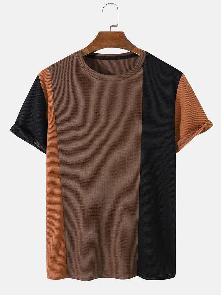 Mens Contrasting Color Waffle Knitted Crew Neck Short Sleeve Preppy T-Shirt
