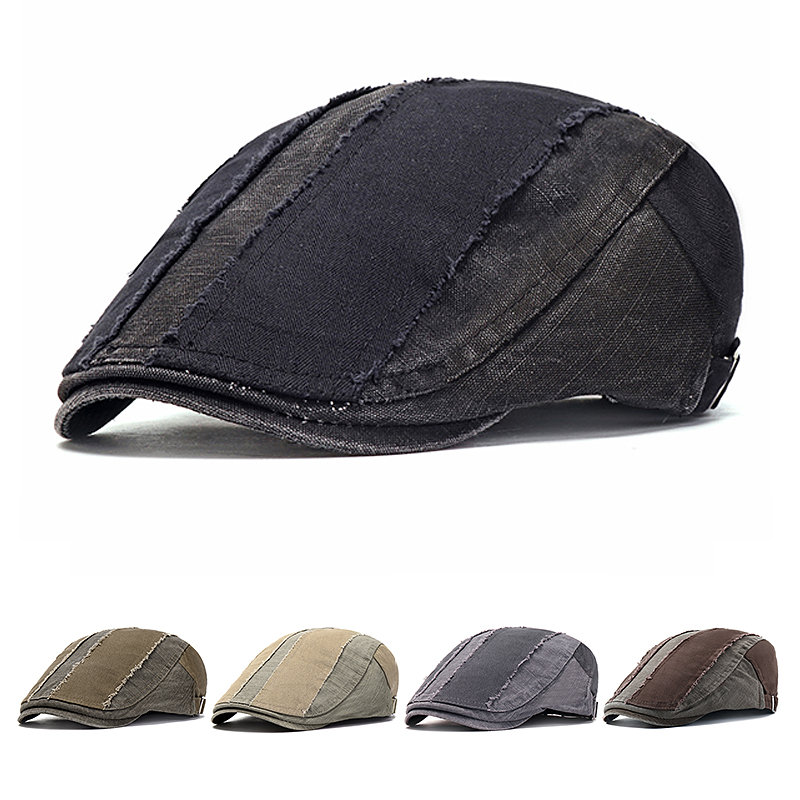 4228496f ... Mens Vintage Washed Pure Cotton Beret Hat Casual Adjustable Breathable  Newsboy Cabbie Cap. Share Get Coupon