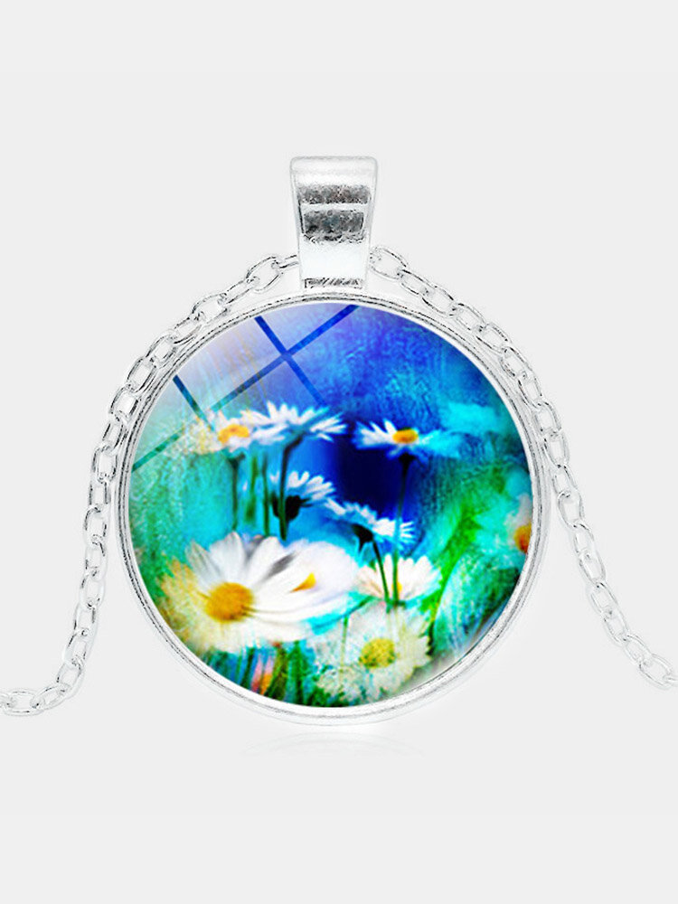 Vintage Geometric Round Floral Gemstone Pendant Necklace Metal Glass Printed Women Jewelry