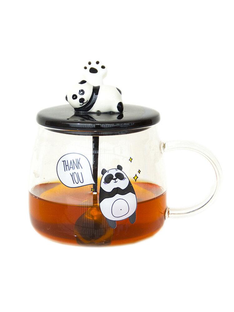 Keramik Kaffeebecher Lovely Cute Panda Pattern Unique Water Cup mit Löffel und Deckel