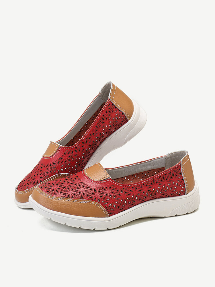 Women Hollow Leather Slip On Solid color Soft Sole Flats Shoes