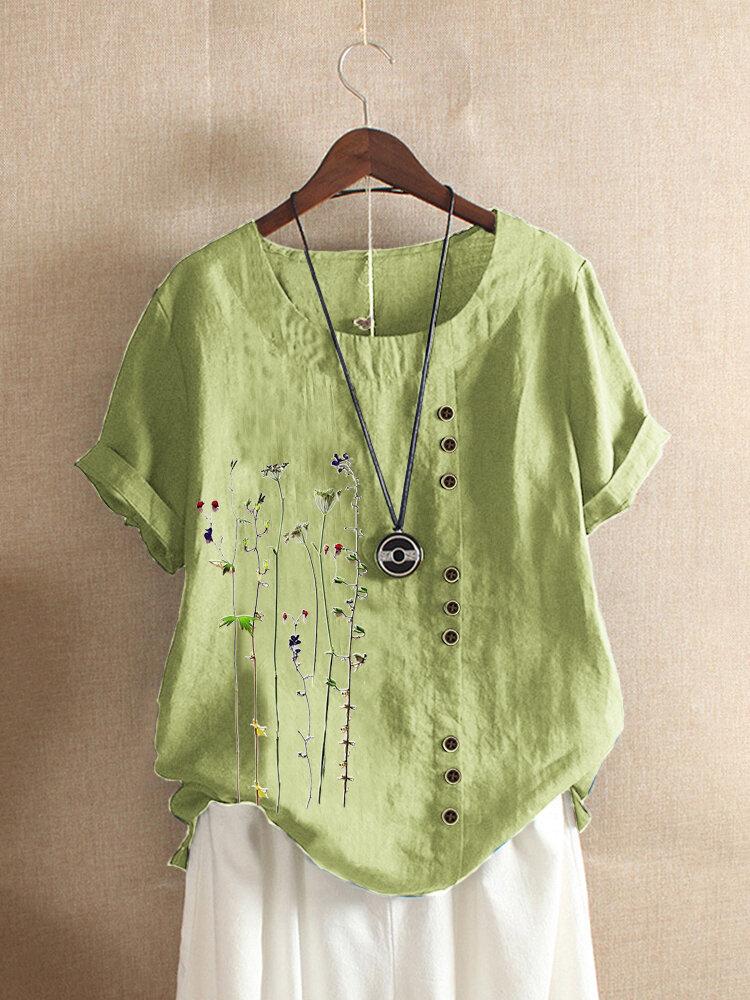 قميص بأزرار وياقة دائرية وأزرار قصيرة