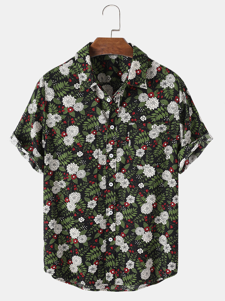 Mens Tropical Plant Floral Print Chest Pocket Turn Down Collar Holiday Shirts