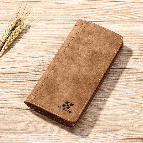 Vertical PU Leather Wallet 13 Card Slots Card Holder Casual Bill Holder For Men