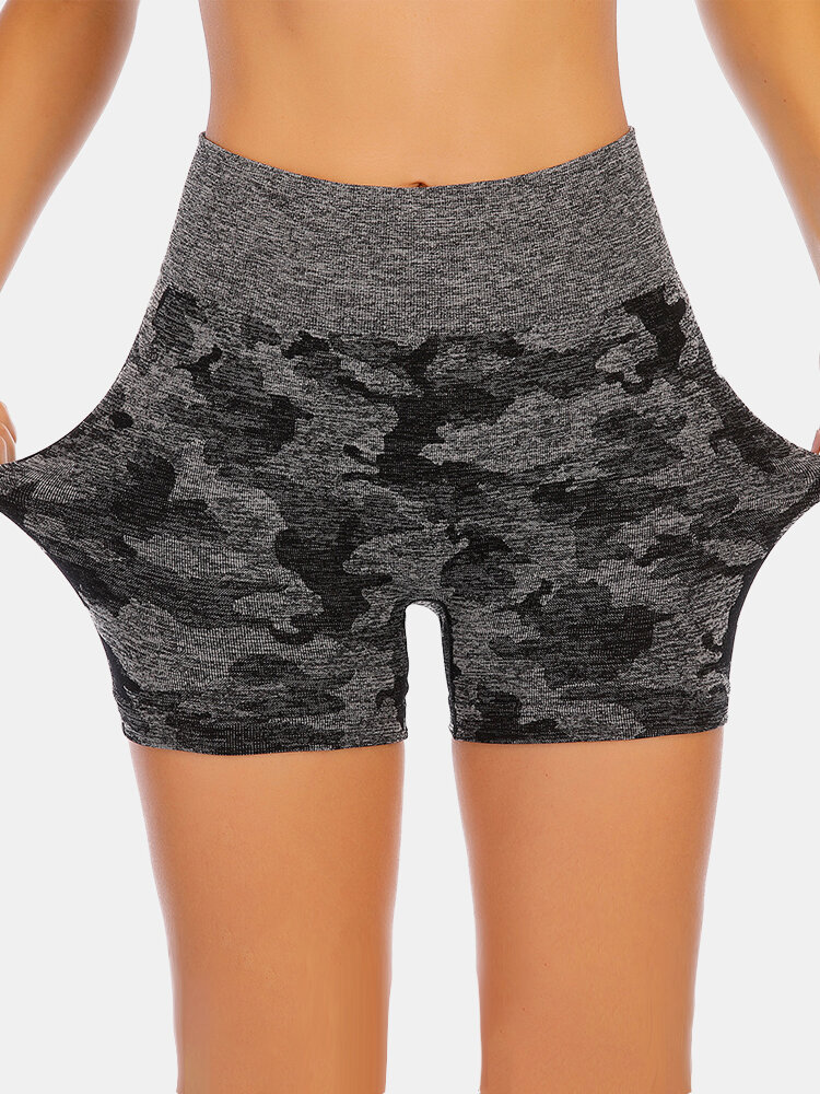 Women Camo High Waist Seamless Biker Shorts Elastic Dry Quickly Sports Panty
