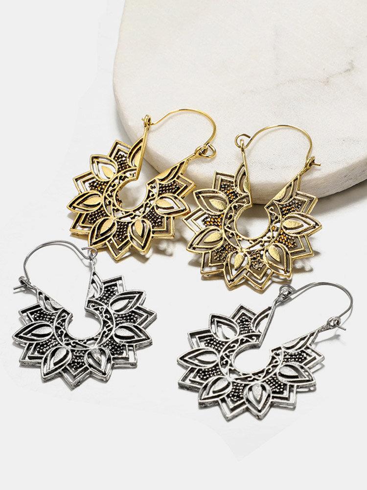 Vintage Hollow Flower Women Pendant Earrings Jewelry Gift