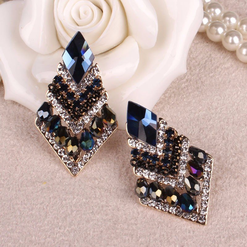 Luxury Elegant Earrings Rhombus Crystal Rhinestone Wedding Earrings