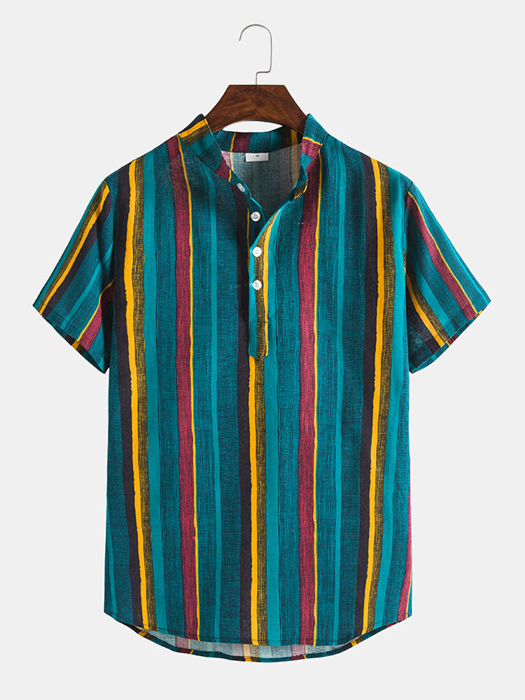Mens Multi Color Stripe Stand Collar Short Sleeve Henley Shirts