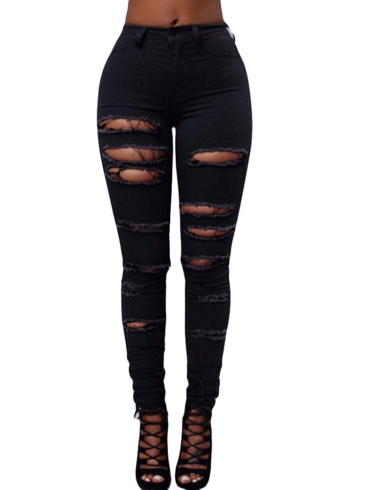 Hollow High Waist Solid Color Casual Ripped Jeans