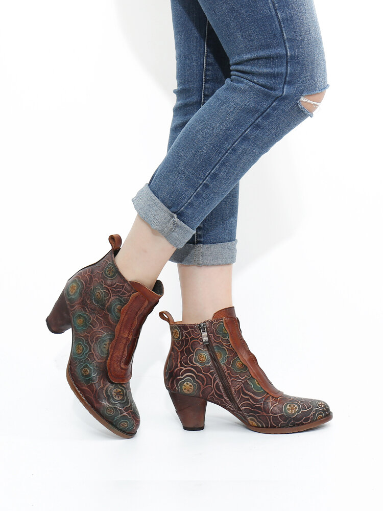 SOCOFY Retro Genuine Leather Flowers Pattern Comfy Casual Chunky Heel Ankle Boots