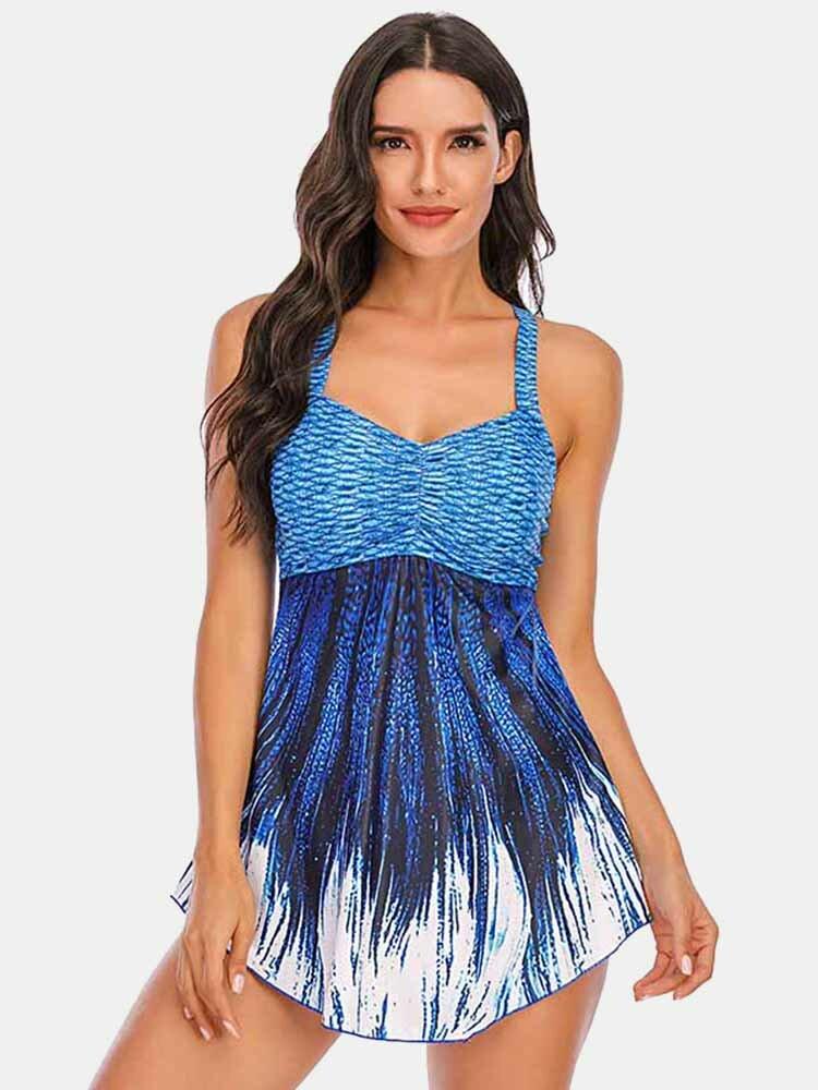 Plus Größe Damen Ombre Wave Print rückenfreie Abdeckung Belly Swimdress Beachwear