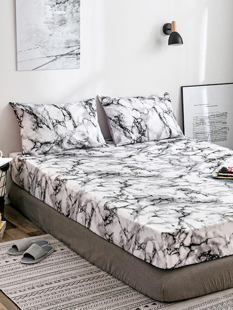 <US Instock> لينة خفيفة الوزن ستوكات رخامية مطبوعة ملاءة سرير أسود رمادي وأبيض مجردة غطاء المعزي مع سحاب