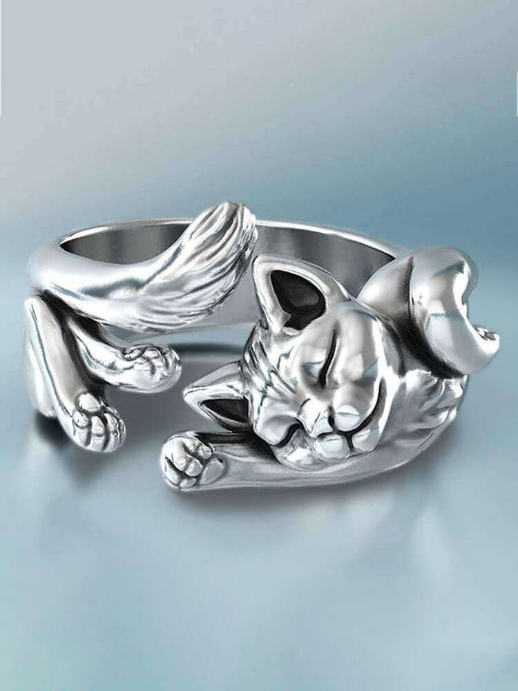 Vintage Cute Small Cat Open Ring Adjustable Silver Plated Black Cat Totem Ring Women Jewelry