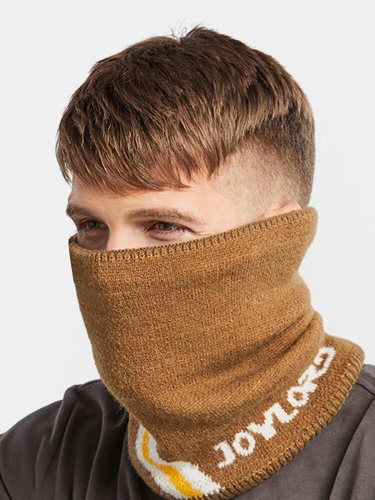 Men Letter Pattern Plus Velvet Thick Winter Outdoor Neck Protection Scarf