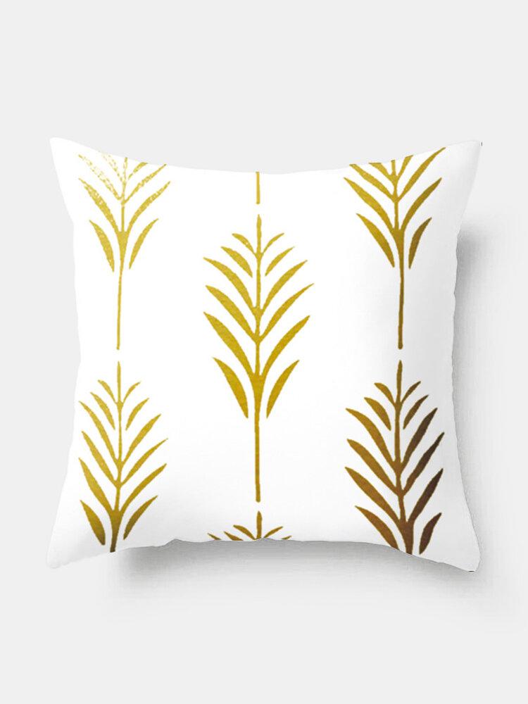 Ins Nordic Style Pillowcase Custom Gold Leaf Sofa Pillow Waist Cushion Cover Hot Style Fashion Home Decoration