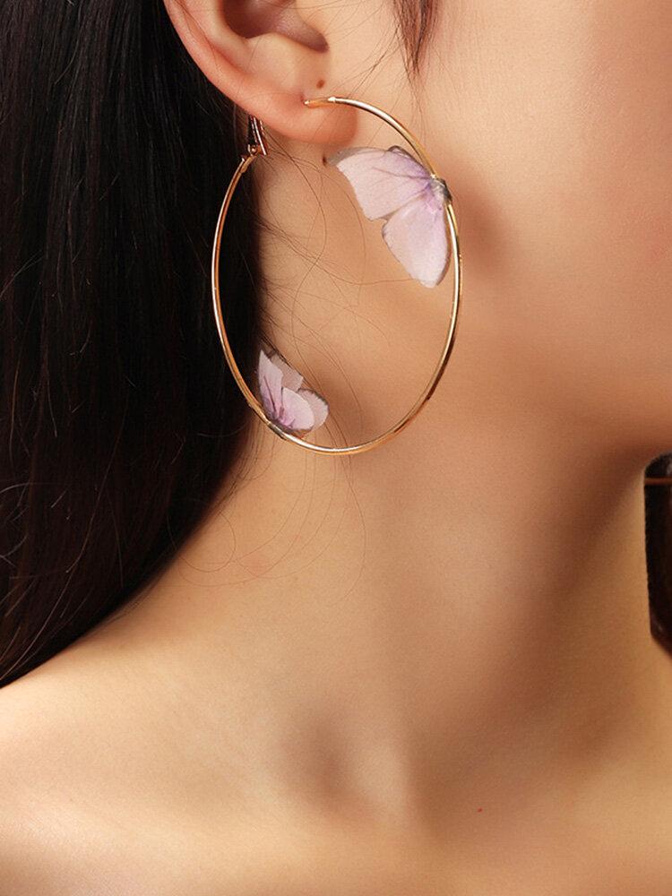 Double Three-dimensional Tulle Butterfly Earrings Temperament Ring Earrings