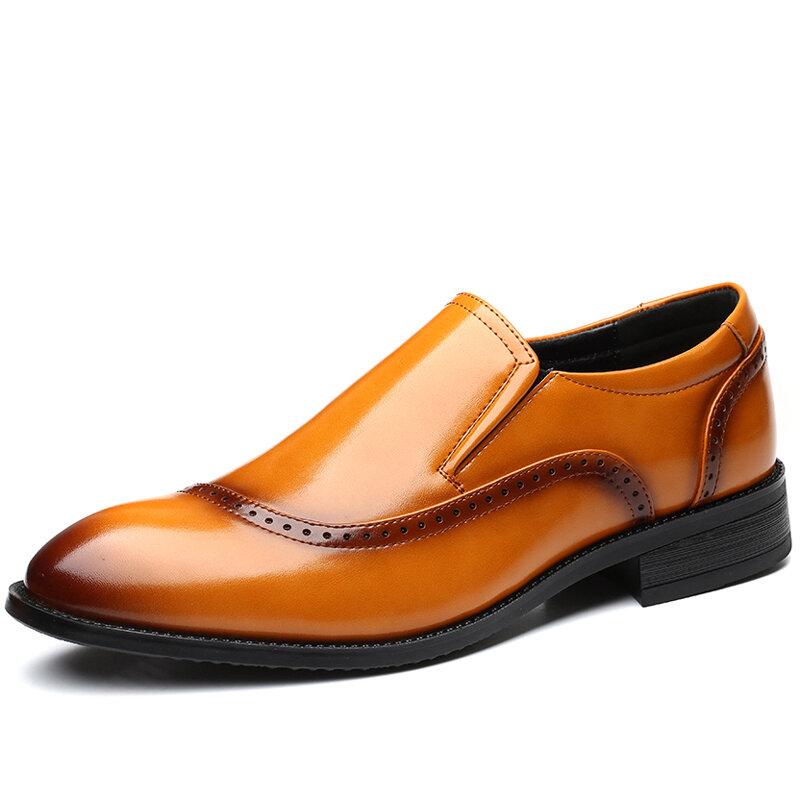 Men Microfiber Leather Slip Resistant Slip On Brogue Casual Formal Shoes