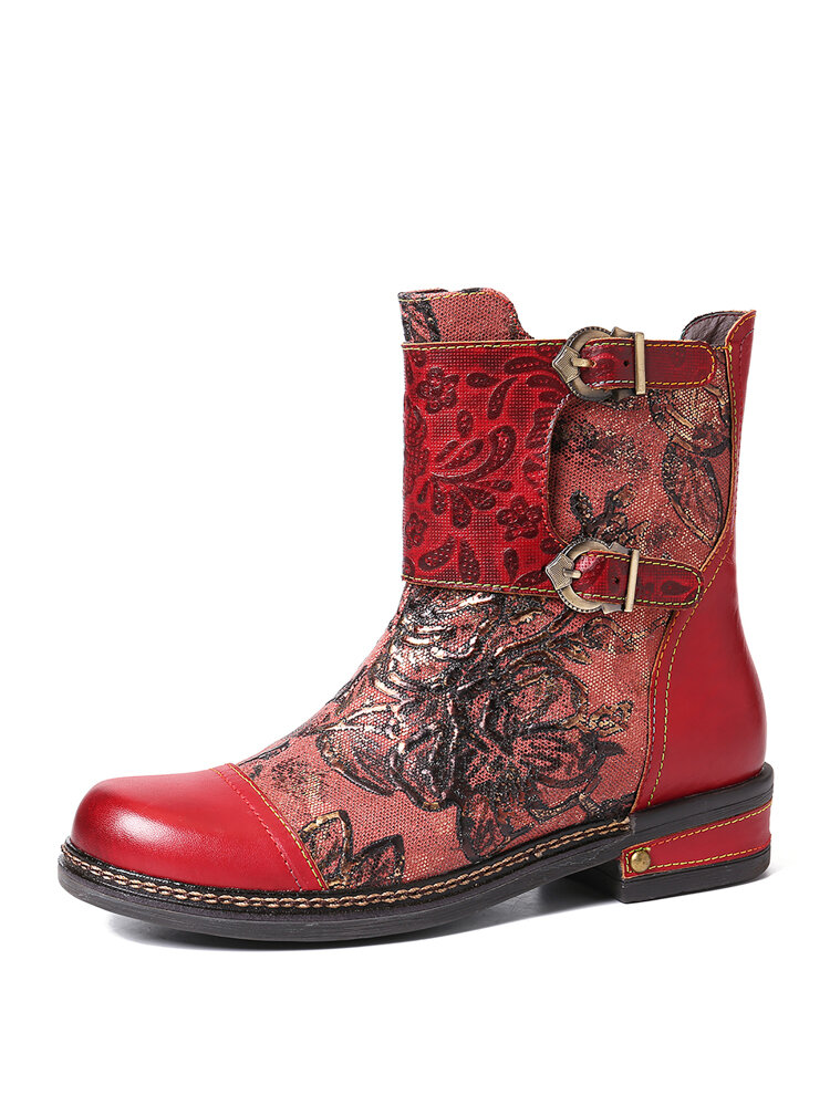 SOCOFY Retro Embossed Rose Genuine Leather Colorful Stitching Flat Zipper Short Boots