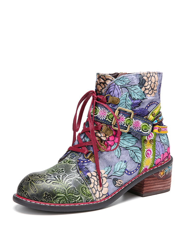 SOCOFY Cloth Floral Printed Leather Splicing Buckle Strap Decor Comfy Side Zipper Ankle Boots