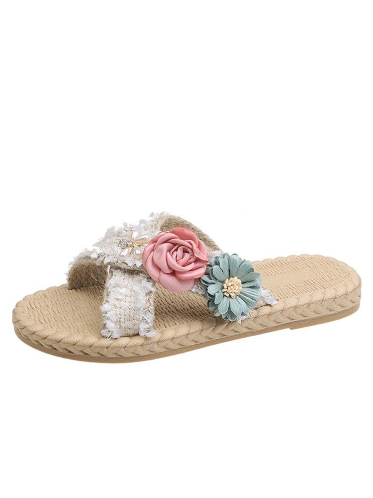 Women Lady Casual Flowers Cross Open Toe Flat Slipper