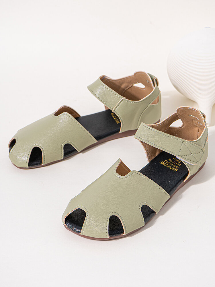Women Comfy Solid Hook & Loop Hollow Out Fisherman Sandals