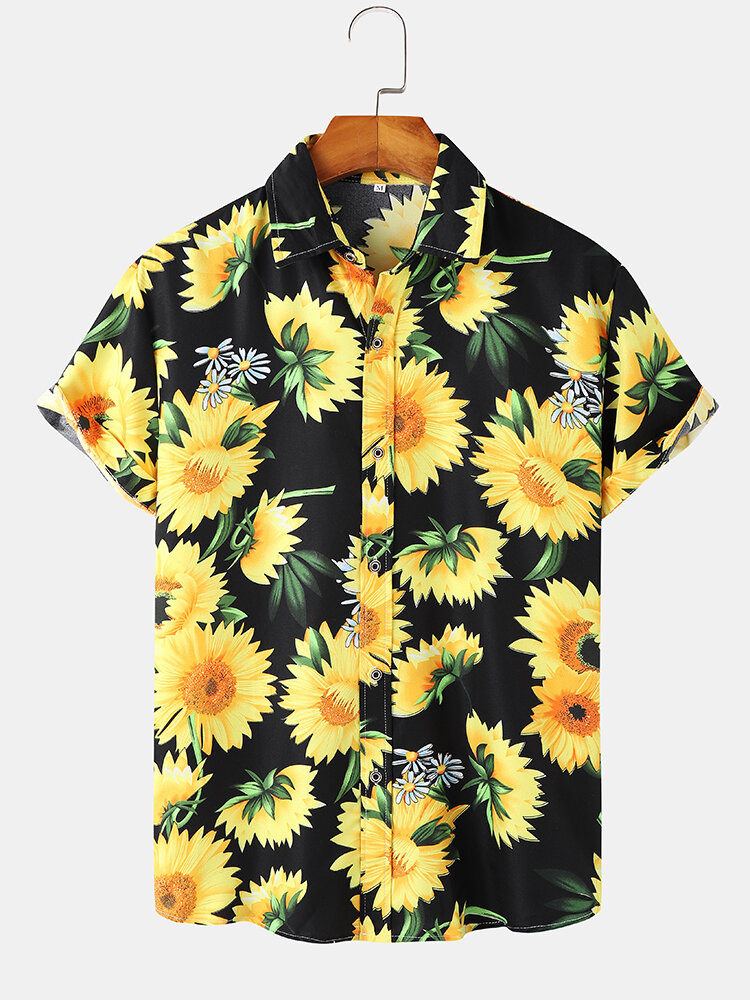 Mens Sunflower Printed Button Up Holiday Short Sleeve Shirts