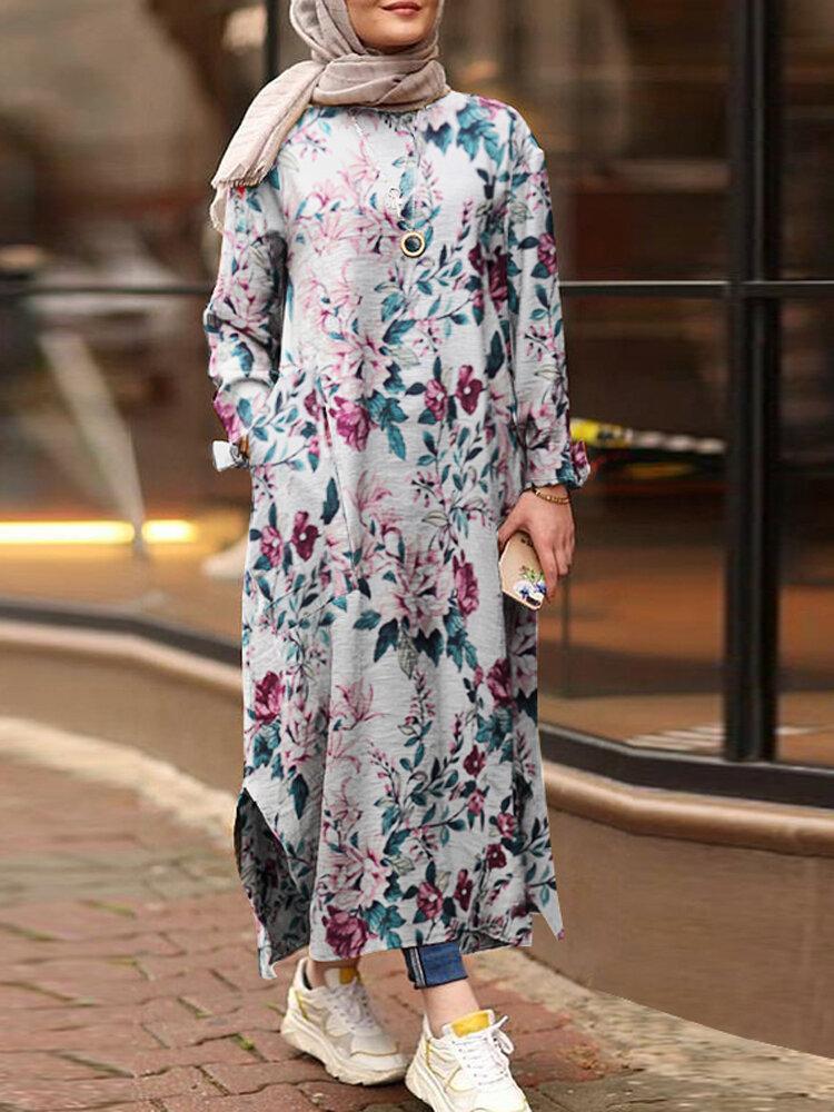 Flowers Print Split Hem Plus Size Casual Dress with Pockets