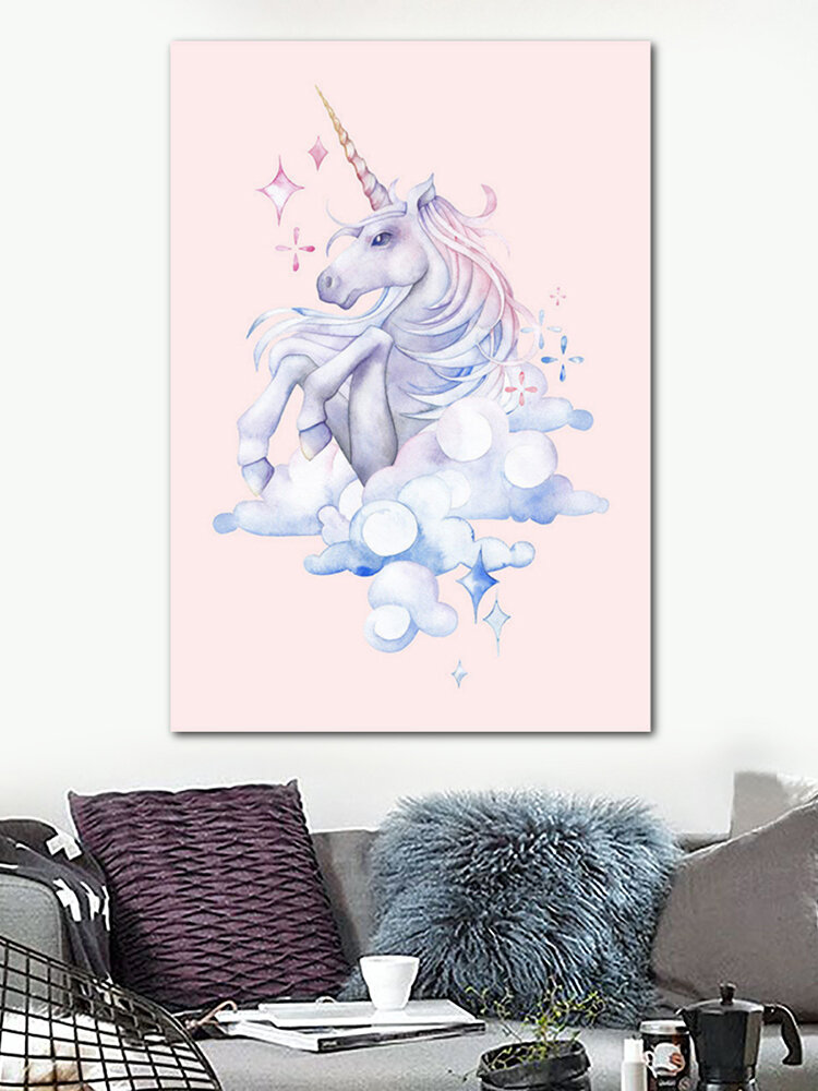 ألوان مائية فلامنغو يونيكورن قماش جدار ملصق فني يطبع غرفة الاطفال الديكور