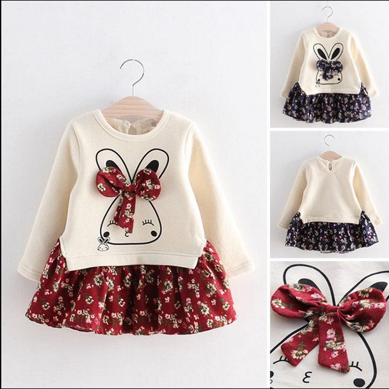Kaninchen Muster Mädchen Patchwork Langarm Floral Kleid für 1J-7J