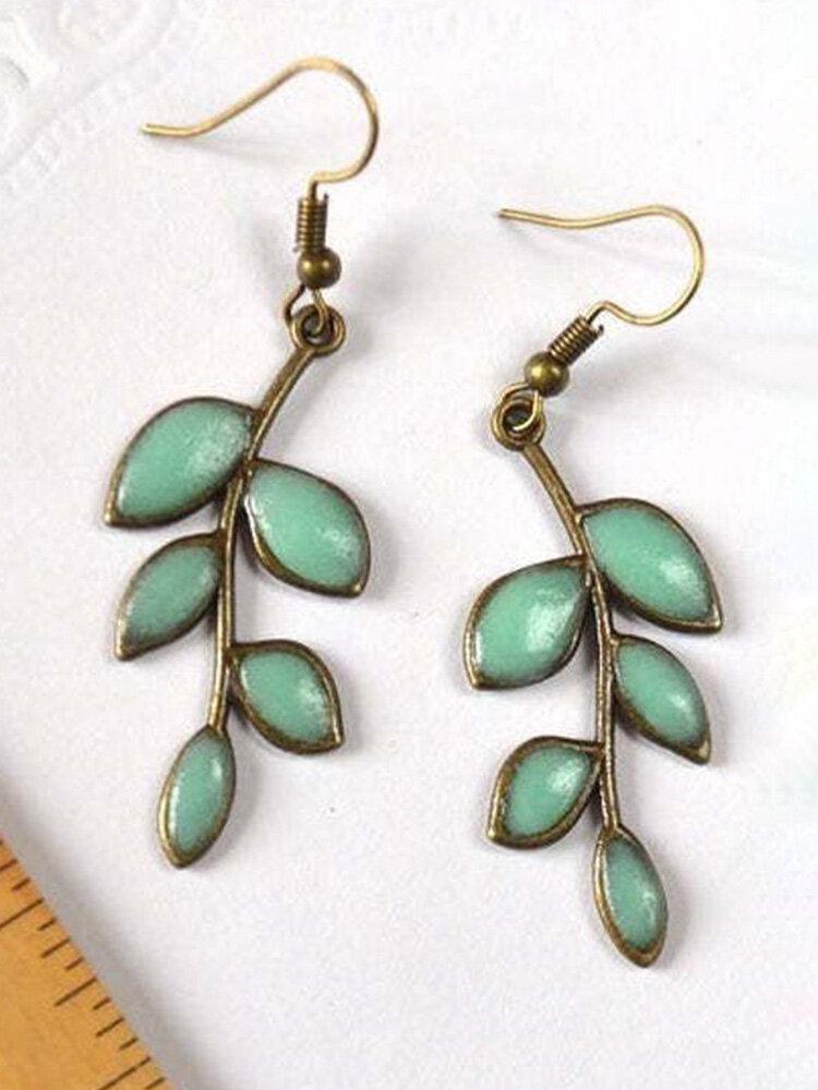 Vintage Green Leaf Luminous Women Earrings Epoxy Pendant Earrings
