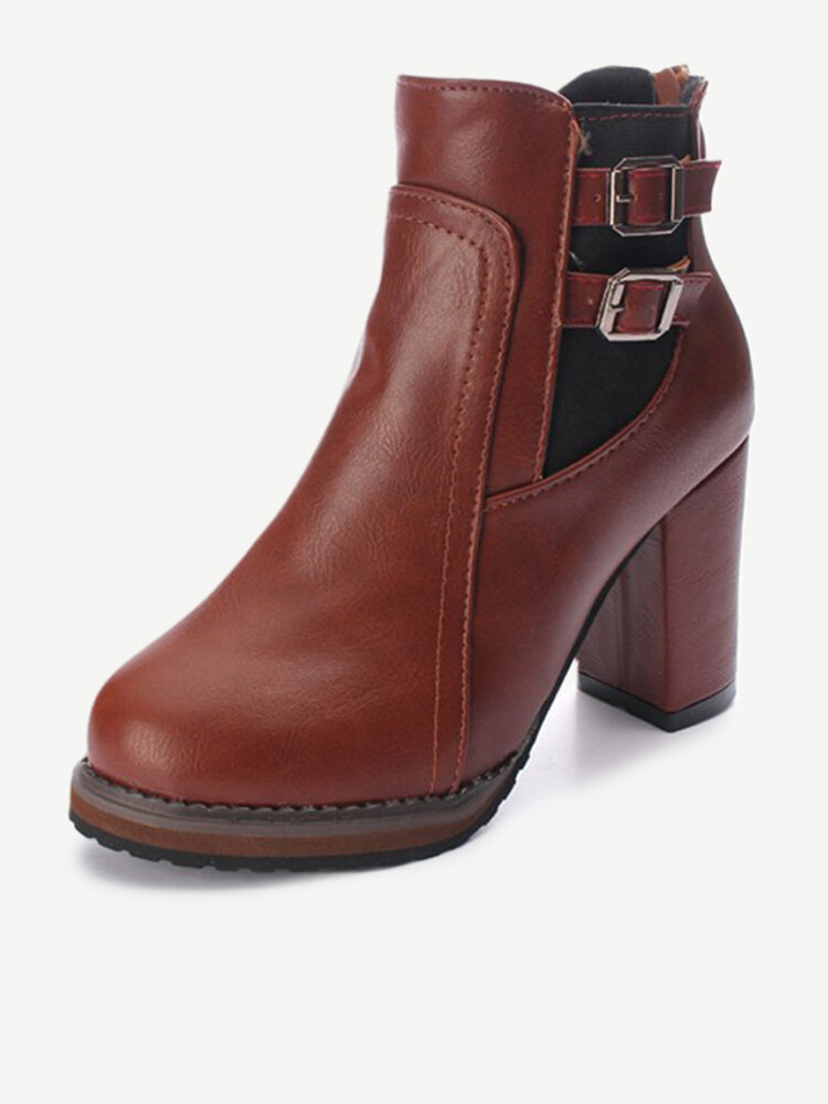 Pu Double Buckle Square Heel Zipper Ankle Boots