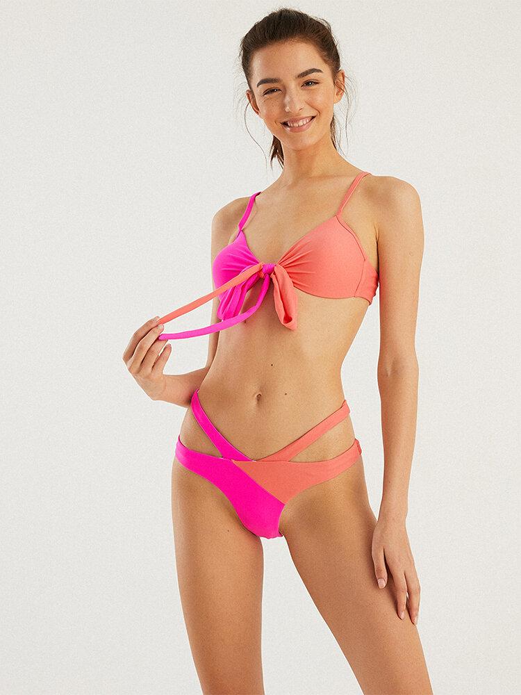 Damen Bikini Hit Color Tie Front Cut Out Bottom Backless Badeanzug