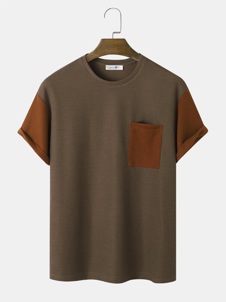 Mens Contrast Patchwork Knitted Short Sleeve Street T-Shirt With Pocket