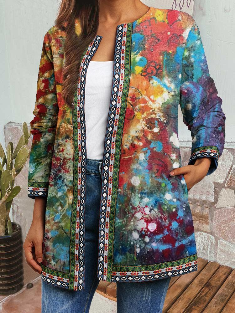 Tie Dye Ethnic Print Pocket Ribbon Patchwork Plus Size Retro Jacket