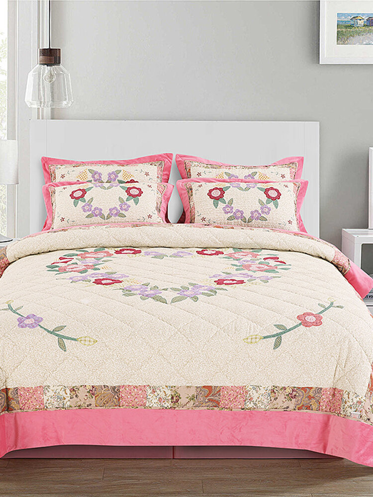 2/3Pcs Bedding Quilt Bed Cover Flannel Suit American Patch Embroidery Washed Quilt