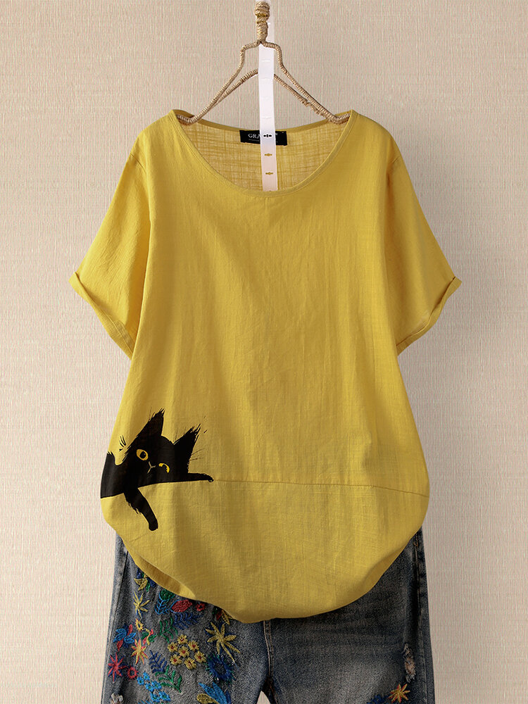 T-shirt da donna a maniche corte con scollo a O con stampa gatto