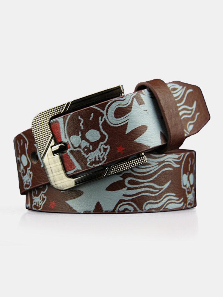 Men PU 110CM Skull Pattern Fashion Cool Pin Buckle Pants Belt