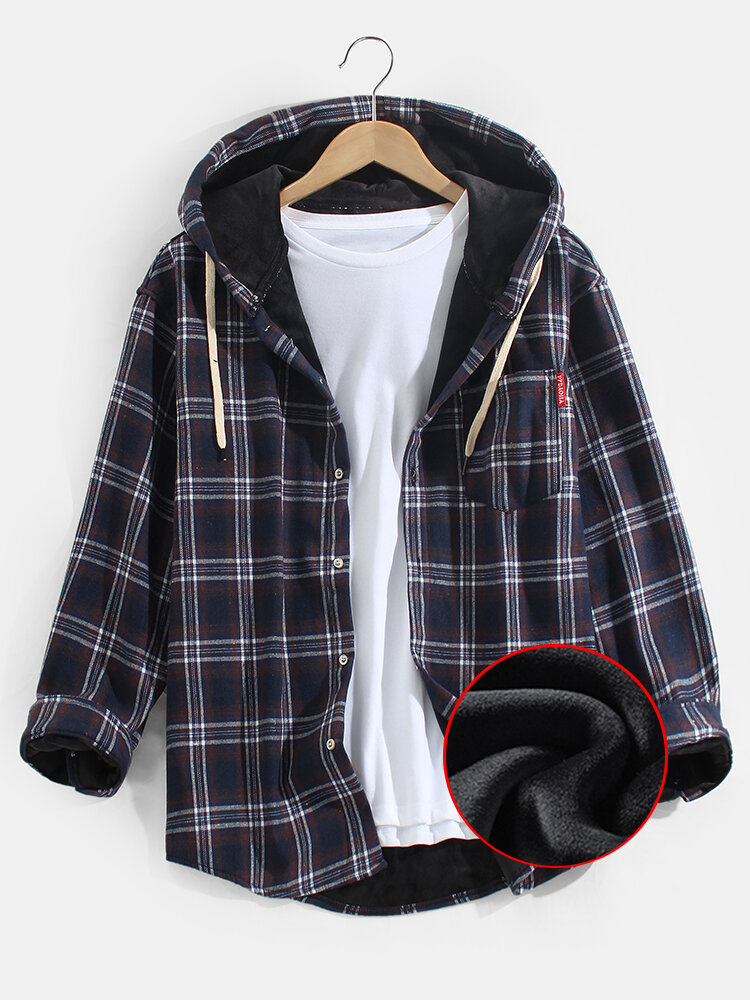 Mens Plus Velvet Plaid Warm Thick Cotton Hooded Shirts With Pocket