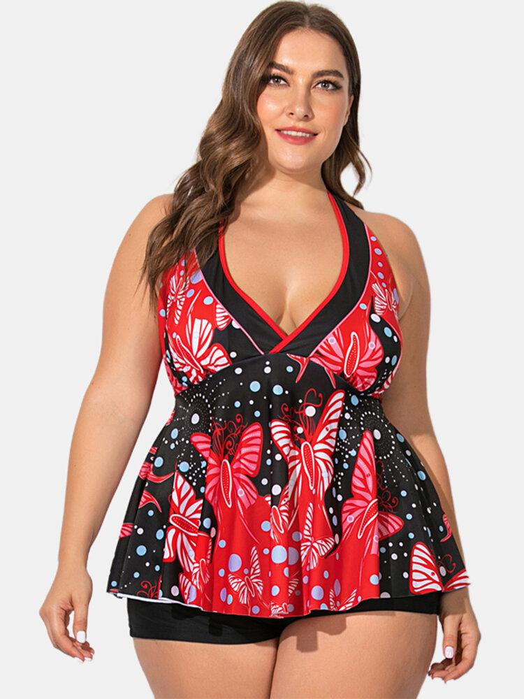 プラスのサイズの女性の水着花柄プリントホルターVネックバックレストップソリッドボーイショーツ水着
