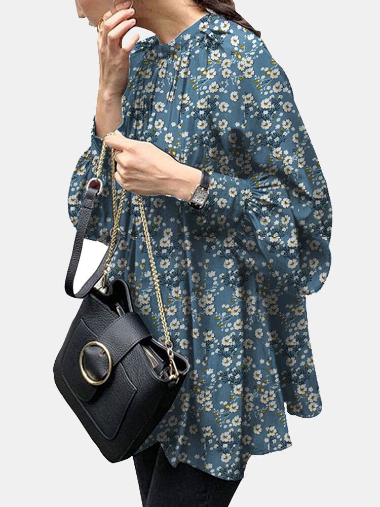 Floral Print Puff Sleeves Loose Casual Blouse For Women