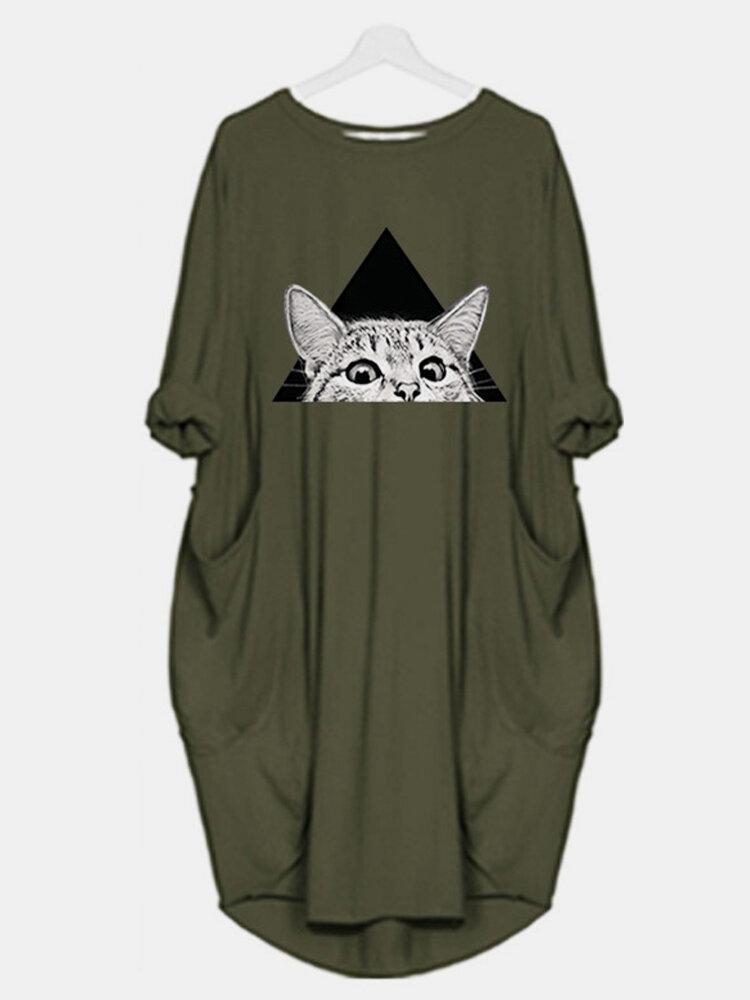 Cute Cat Print O-neck Pocket Long Sleeve Casual Dress for Women