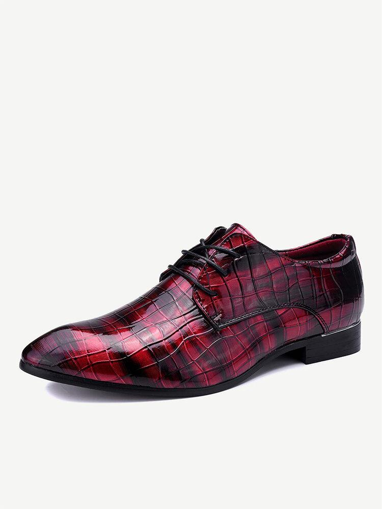Large Size Men Patent Leather Lace Up Party Wedding Dress Shoes