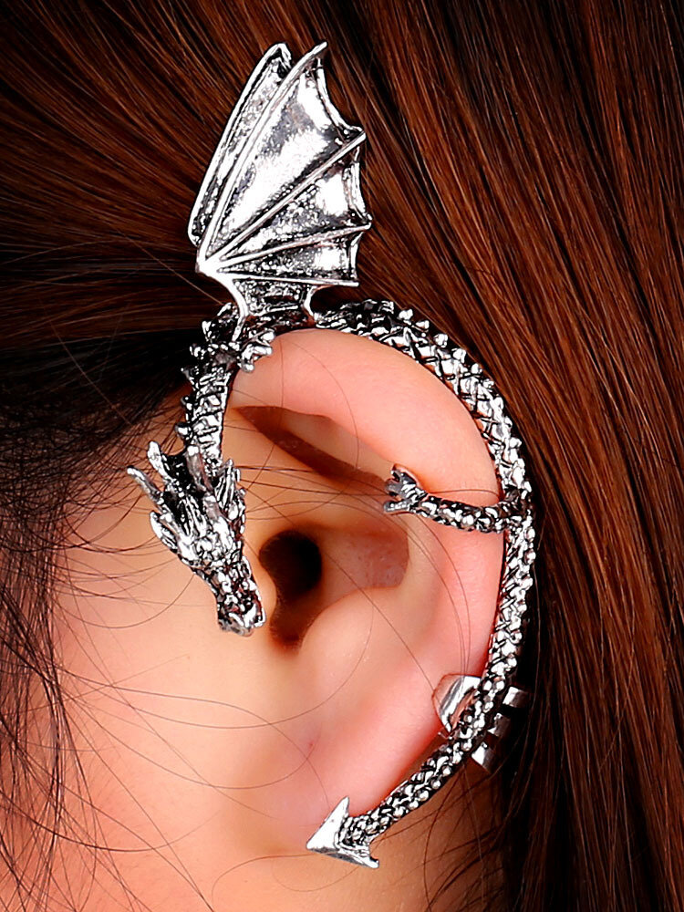 Three-dimensional Metal Dragon-Shaped Without Pierced Ear Hook Vintage Animal-Shape Earrings