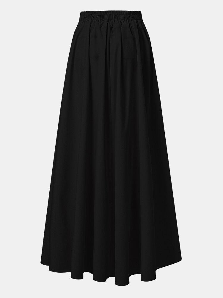 Jupe longue décontractée à taille élastique plissée de couleur unie pour femmes