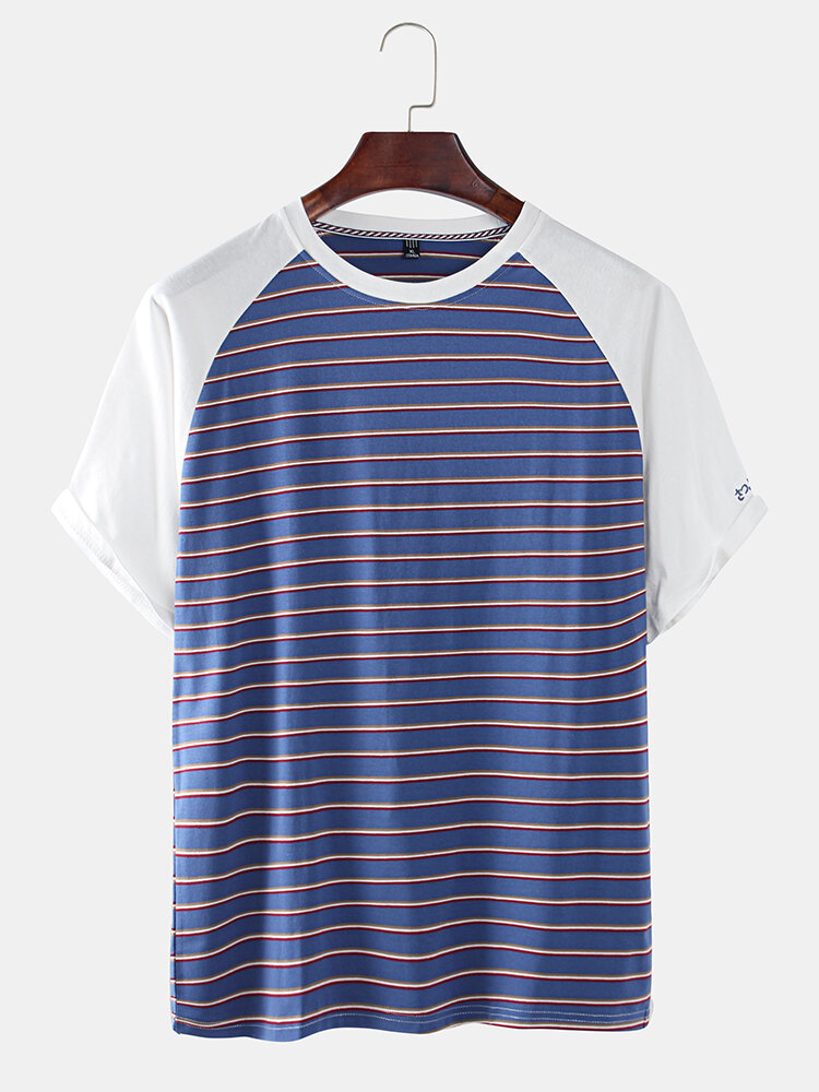 Mens Cool Patchwork Stripe O-neck T-shirts