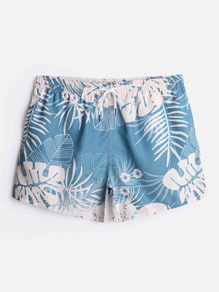 Mens Holiday Tropical Leaf Print Holiday Swim Trunk Lined Board Shorts