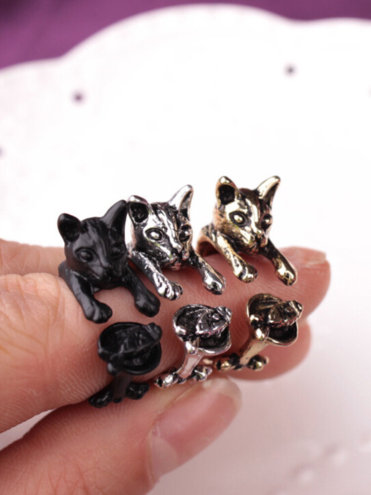 Vintage Animals-Shape Women Ring Cute Cat Eat Fish Ring Jewelry Gift