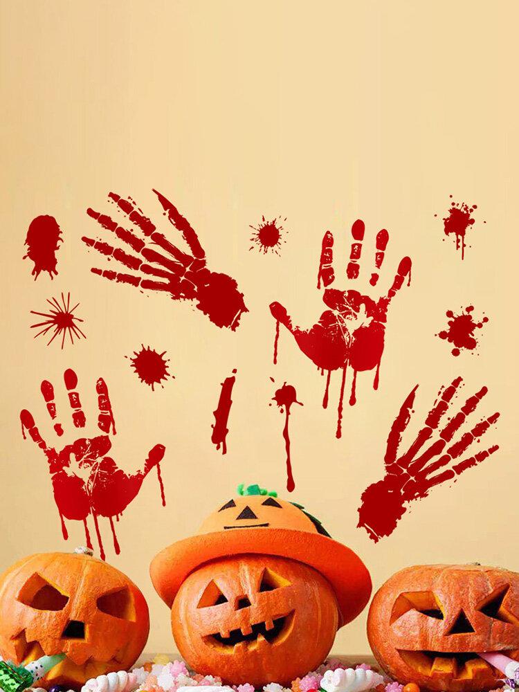 Halloween 3D Wall Stickers DIY Reusable Self-adhesive Wall Art Decor Blood Handprint Footprints